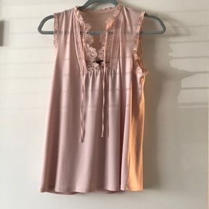Express Light Pink Lace Tie-Neck Sleeveless Blouse